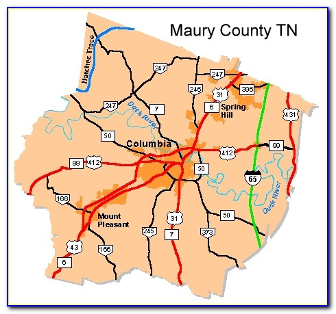Map Of Maury County Tn