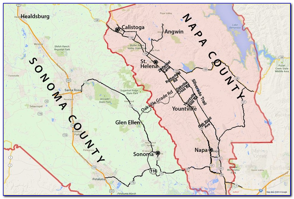 Map Of Napa And Sonoma Ca