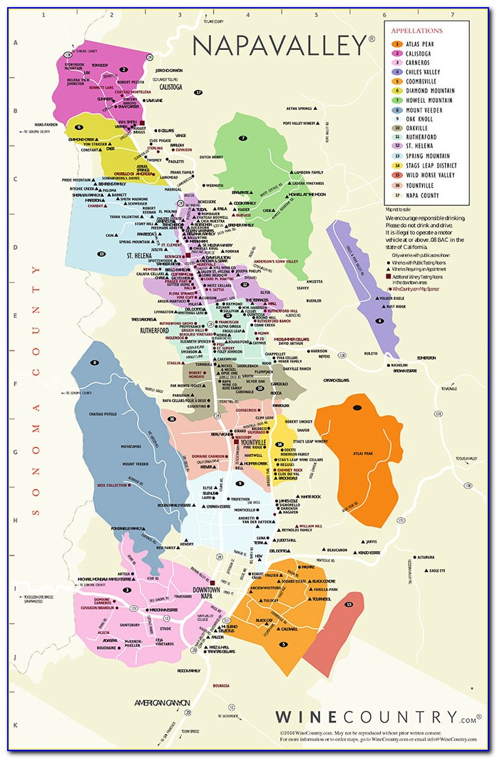 Map Of Napa Valley Wineries California