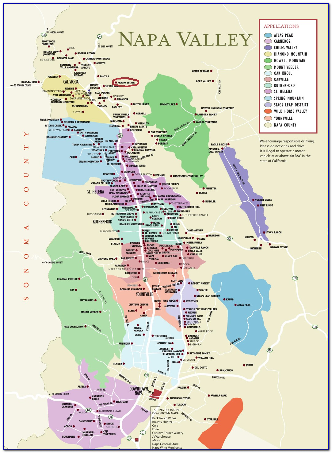 Map Of Napa Valley Winery