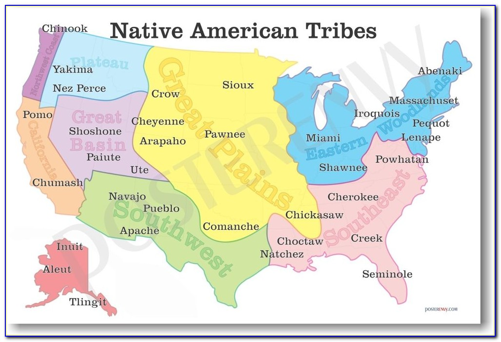 Map Of Native American Tribes In The Us