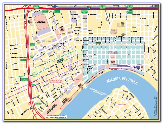 Map Of New Orleans Downtown And French Quarter