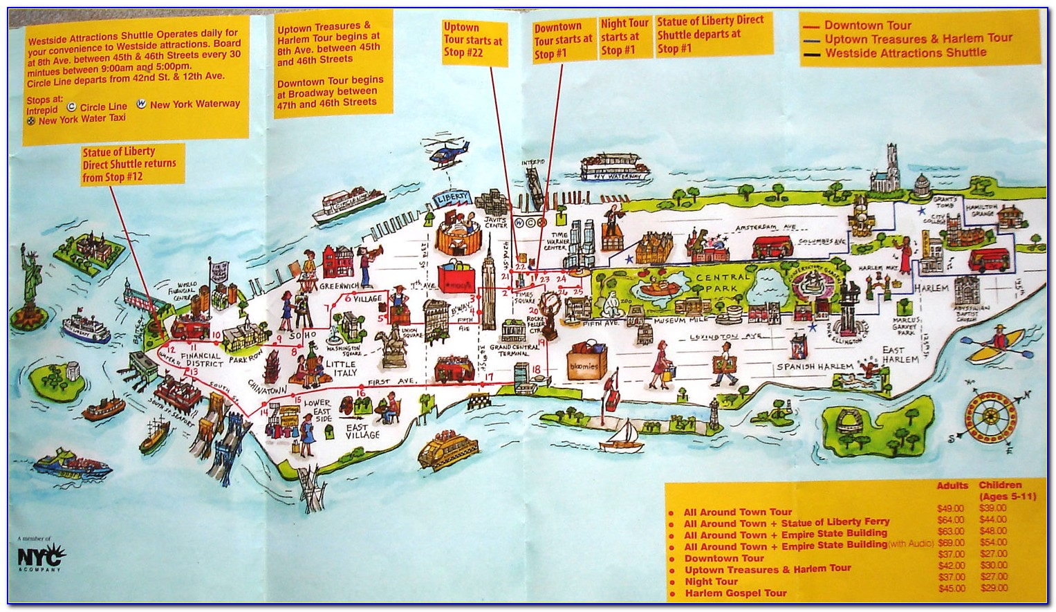 Map Of New York And Attractions
