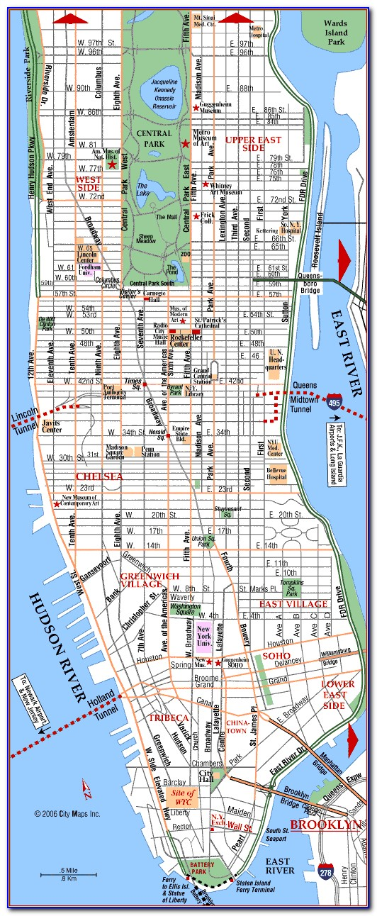 Map Of New York City And Manhattan