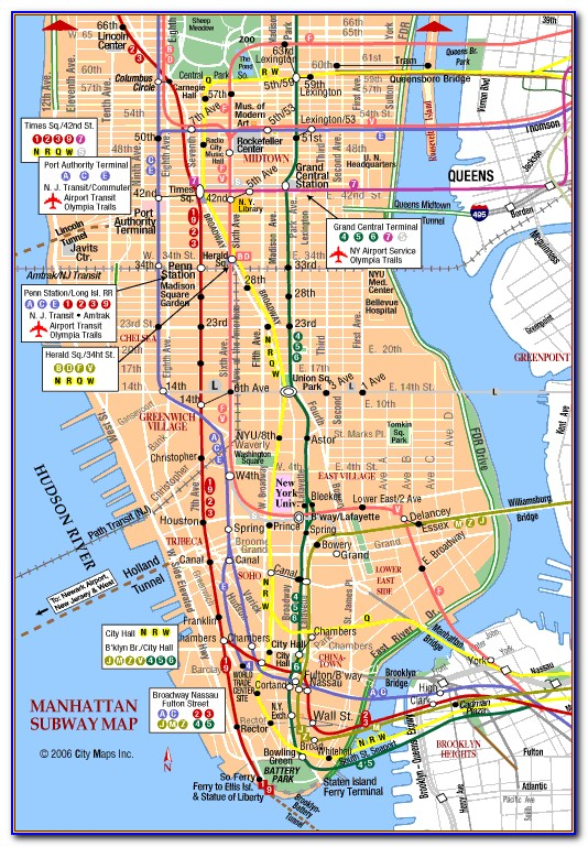 Map Of New York City Manhattan Attractions