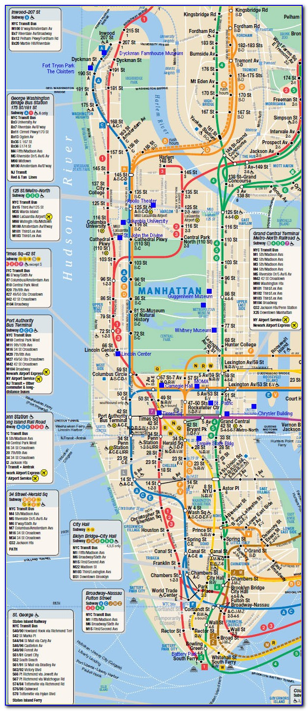 Map Of New York City Manhattan Only
