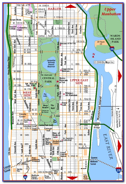 Map Of New York City Manhattan Streets