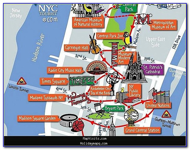 Map Of New York City Showing Attractions