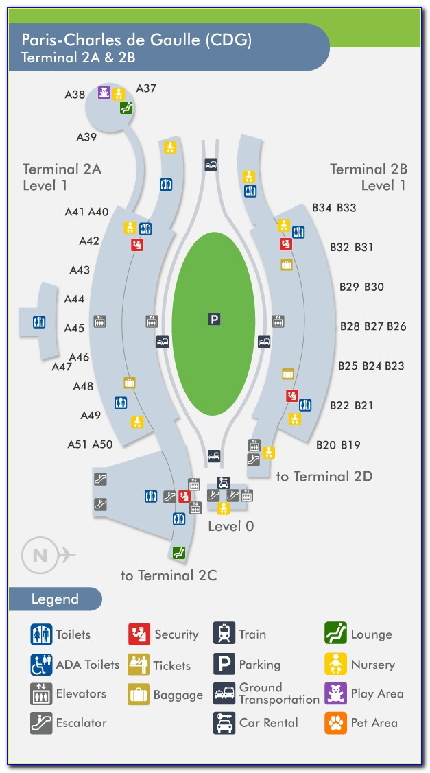 Map Of Paris Charles De Gaulle Airport Terminal 2