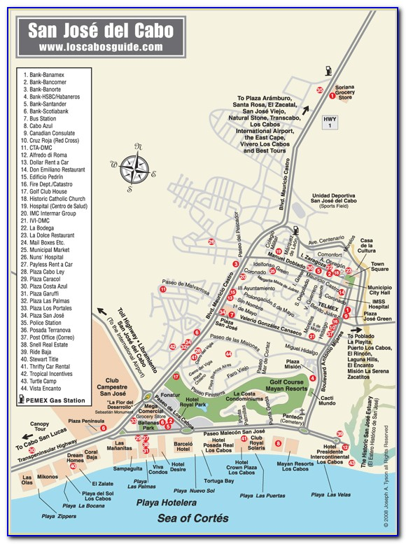 Map Of San Jose Del Cabo Hotels And Resorts