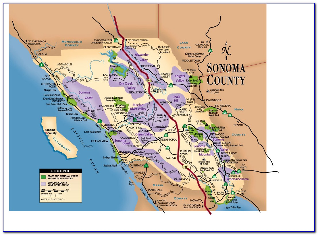 Map Of Sonoma Wine Country