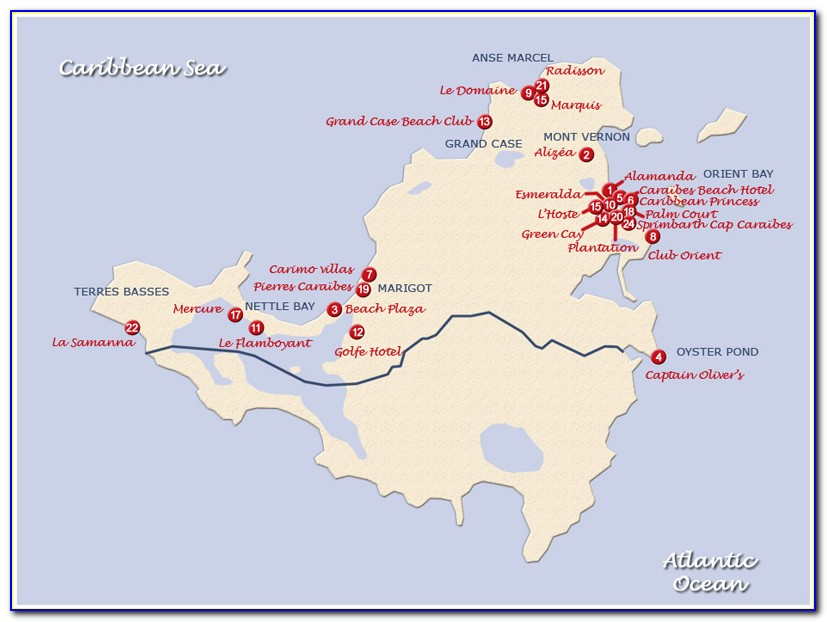 Map Of St Martin Hotels
