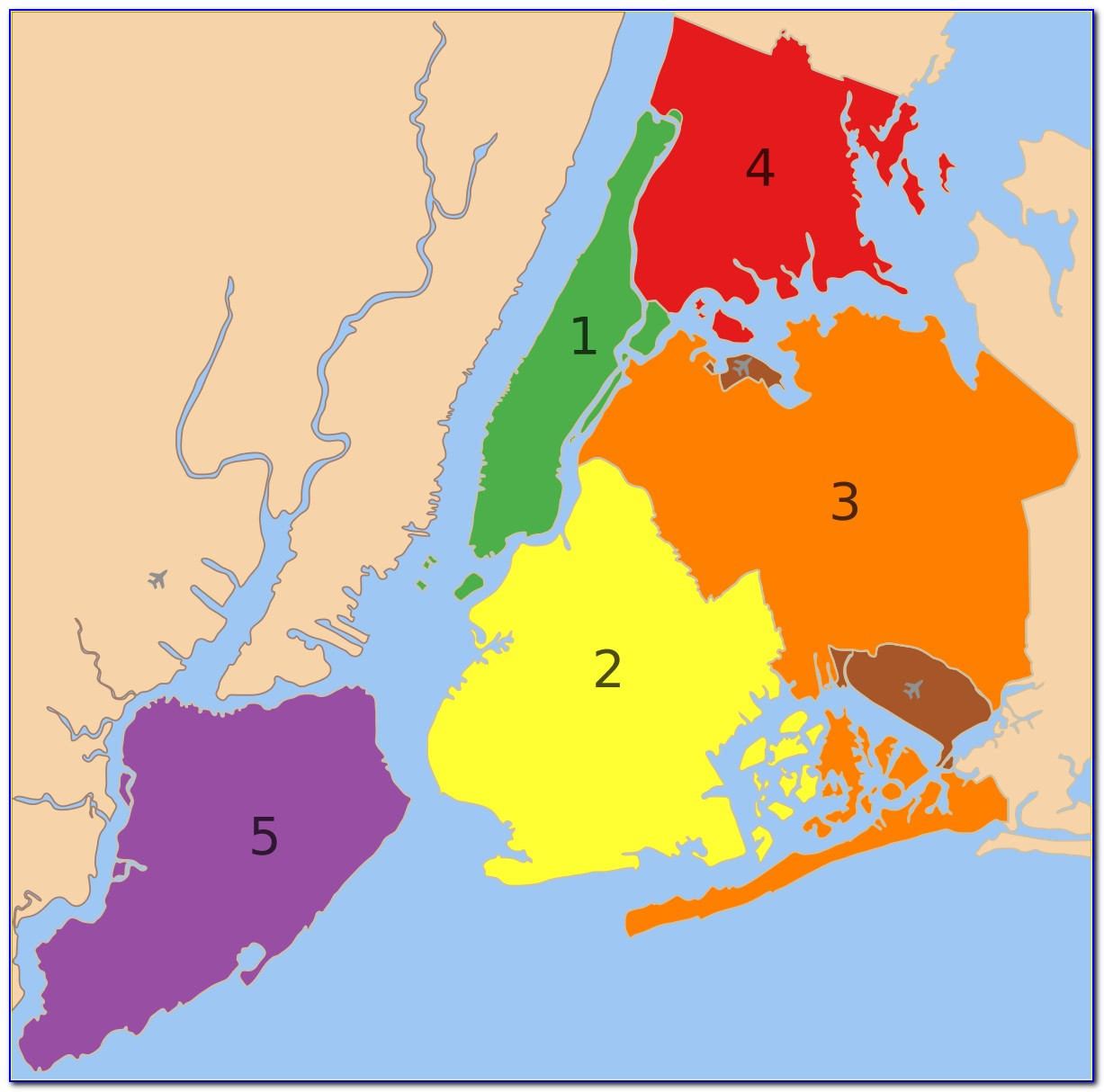 Map Of The 5 Burrows Of New York City