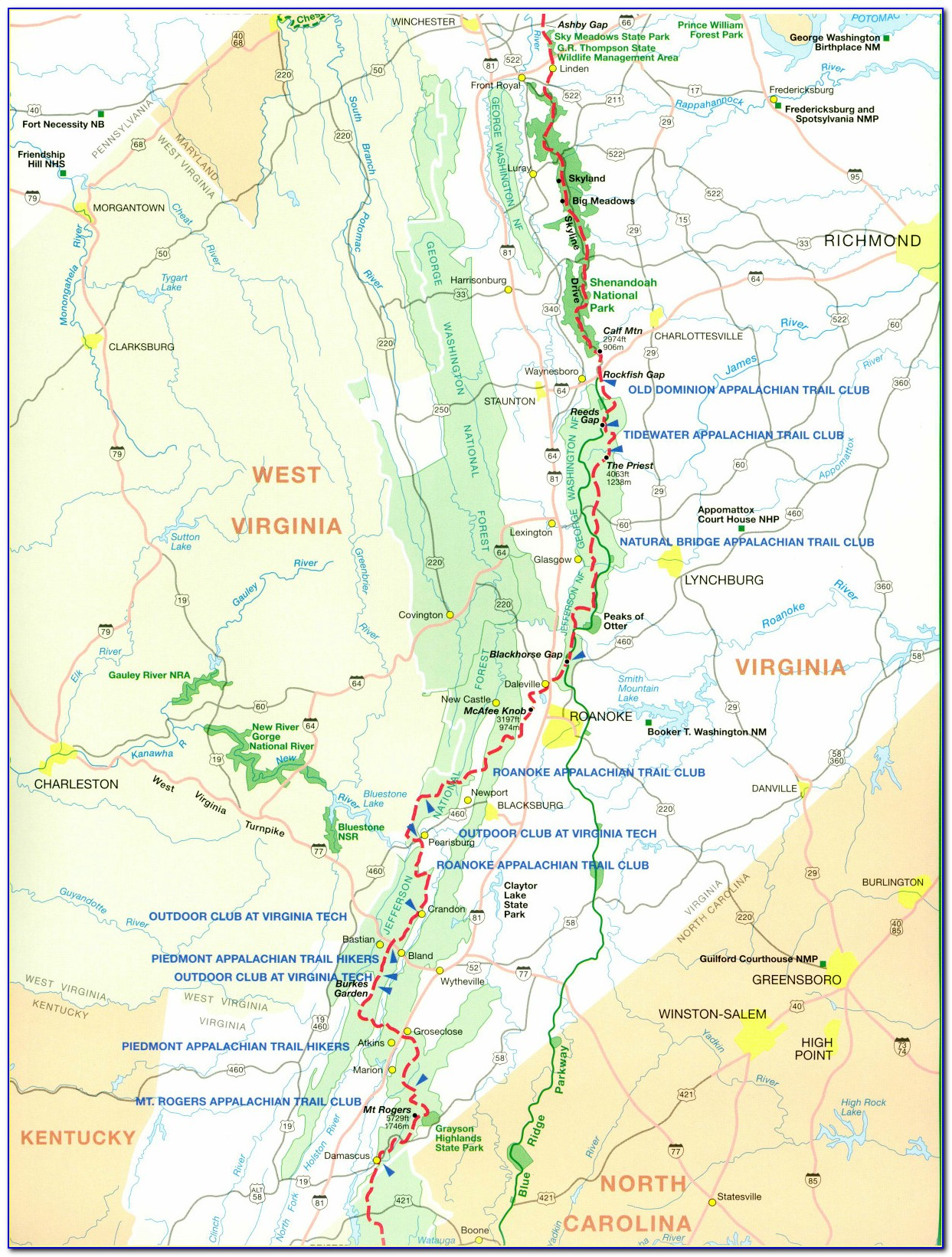 Map Of The Appalachian Trail In Virginia