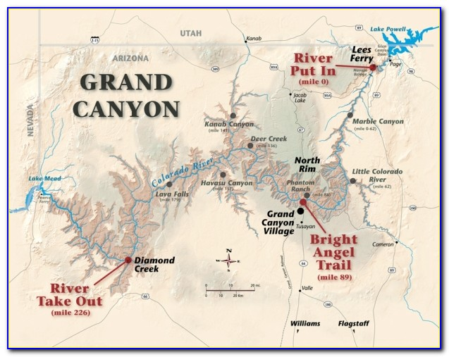Map Of The Grand Canyon In Arizona