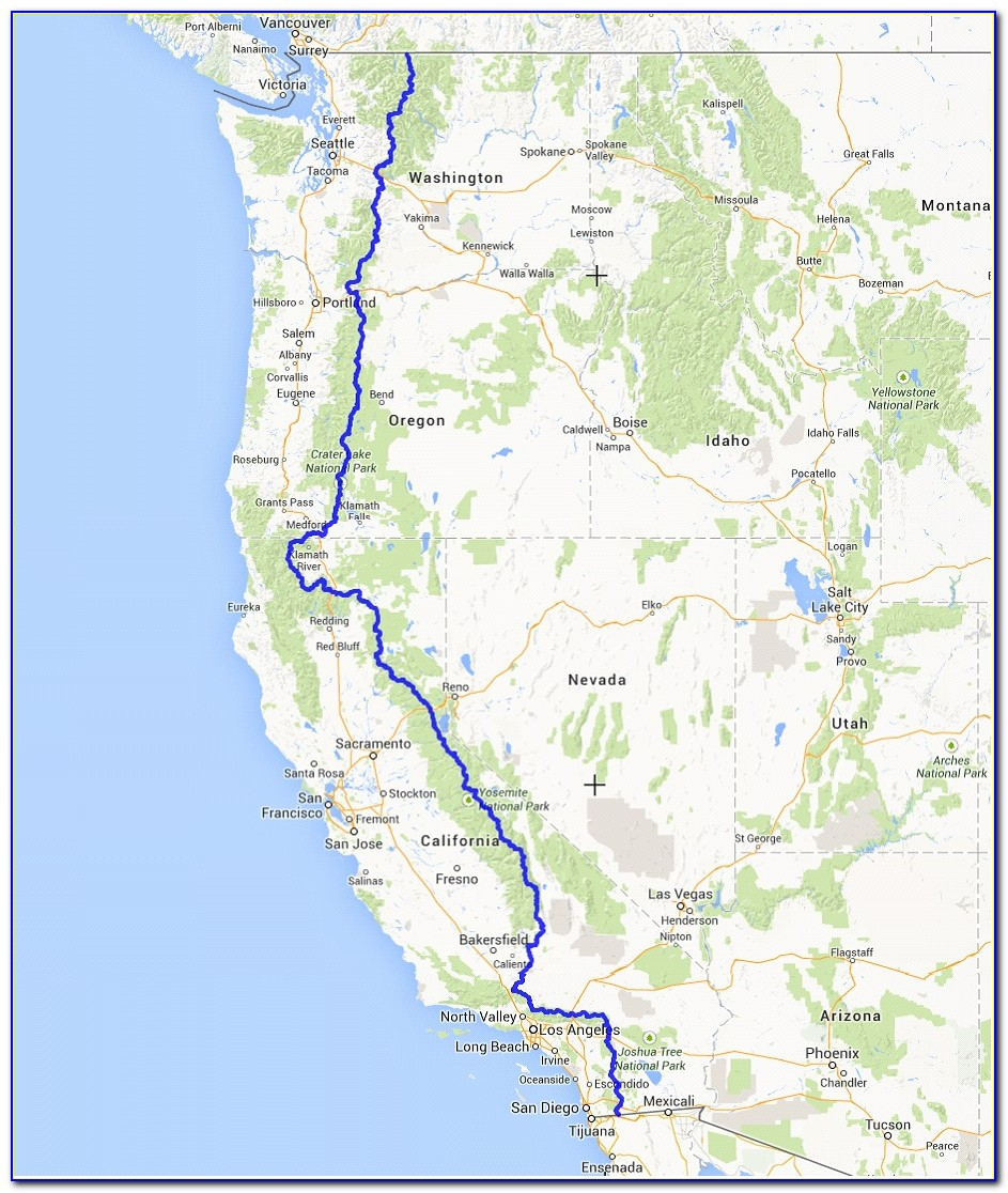 Map Of The Pacific Crest Trail In Washington