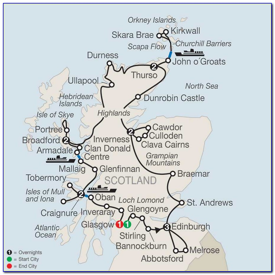 Map Of The Scottish Highlands And Islands