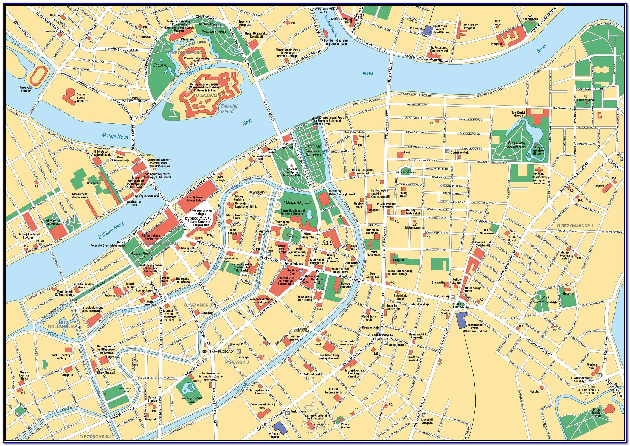 Map Of Tourist Attractions In St. Petersburg Russia