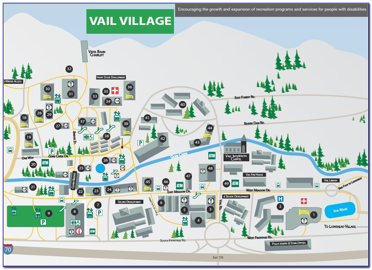 Map Of Vail Village Lodging
