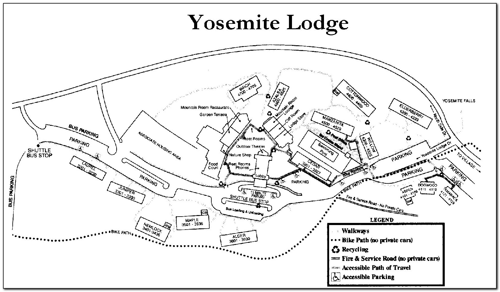 Map Of Yosemite Lodging