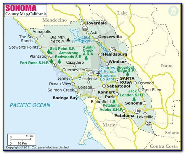 Map Sonoma County California