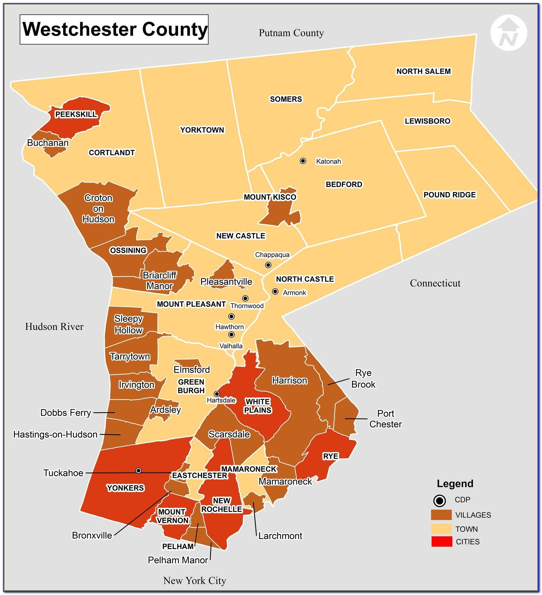 Map Westchester County Ny