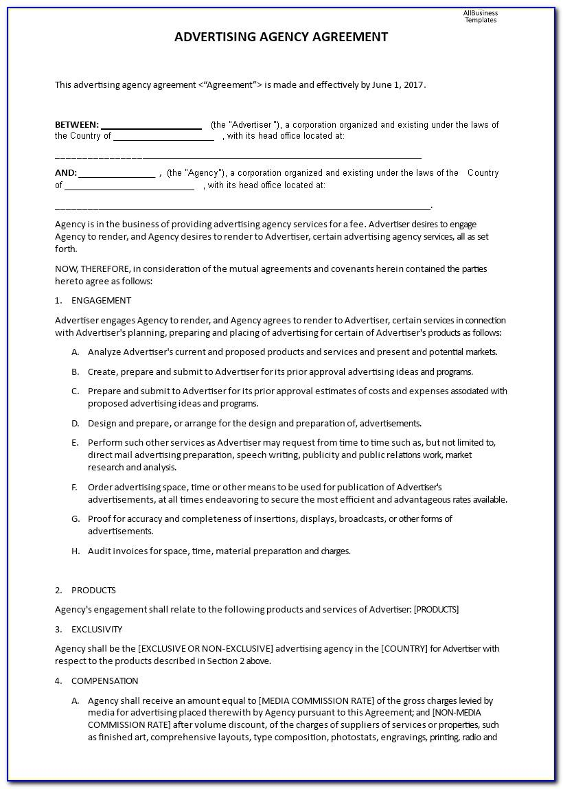 Marketing Agency Agreement Template Free