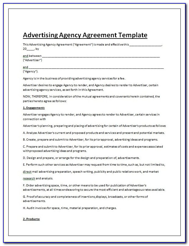 Marketing Agency Contract Template Free