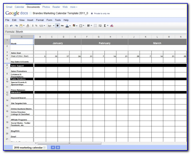 Marketing Plan Calendar Template Excel