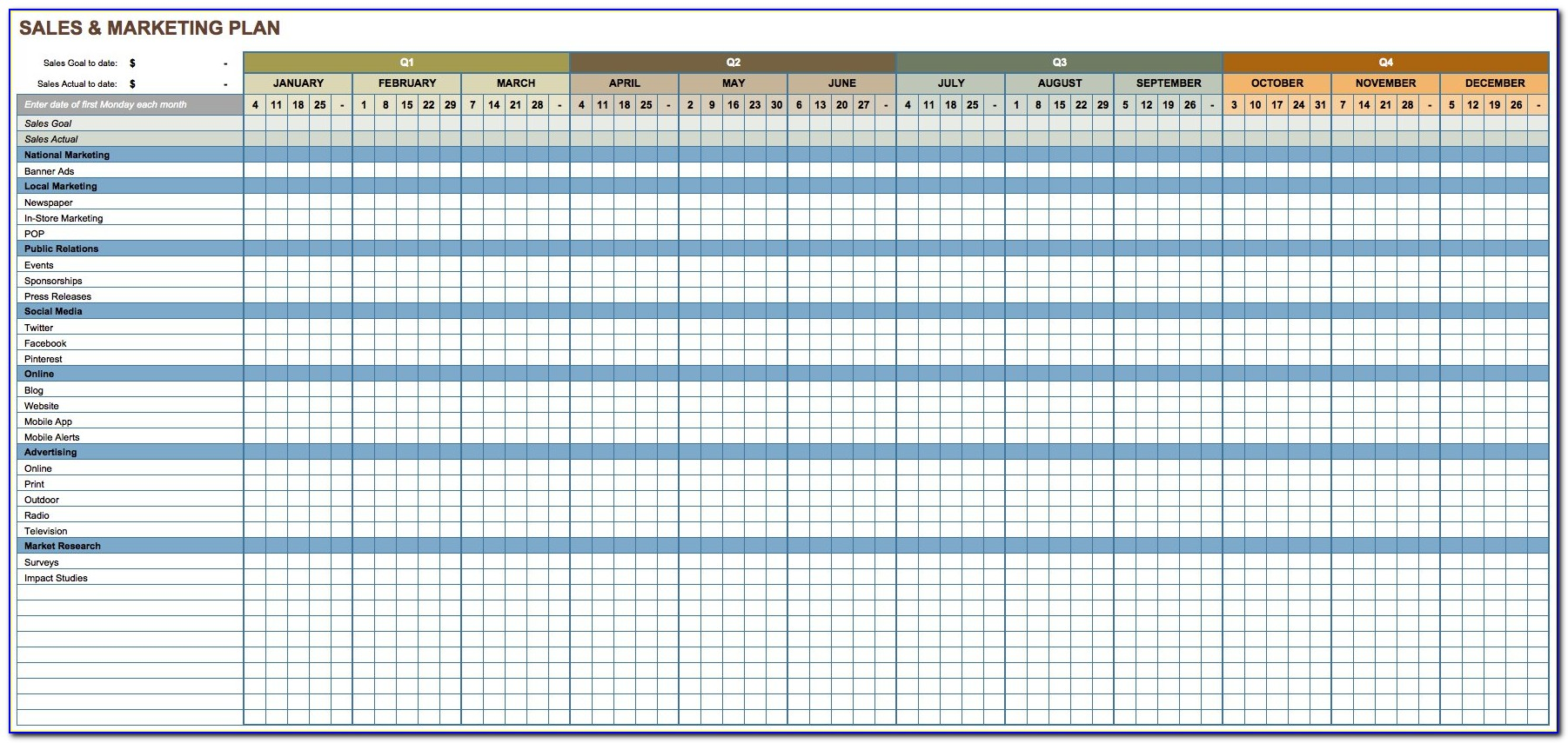 Marketing Plan Template Excel Free Download