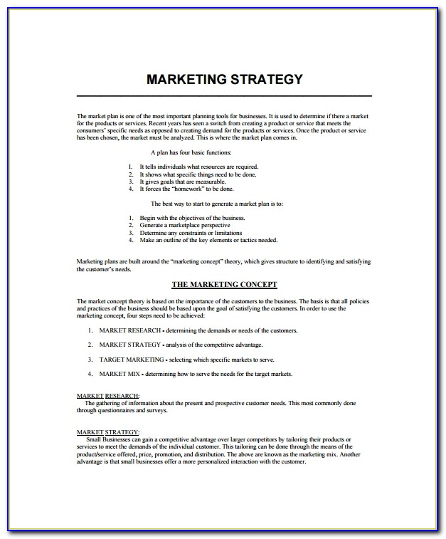 Marketing Strategy Business Plan Template