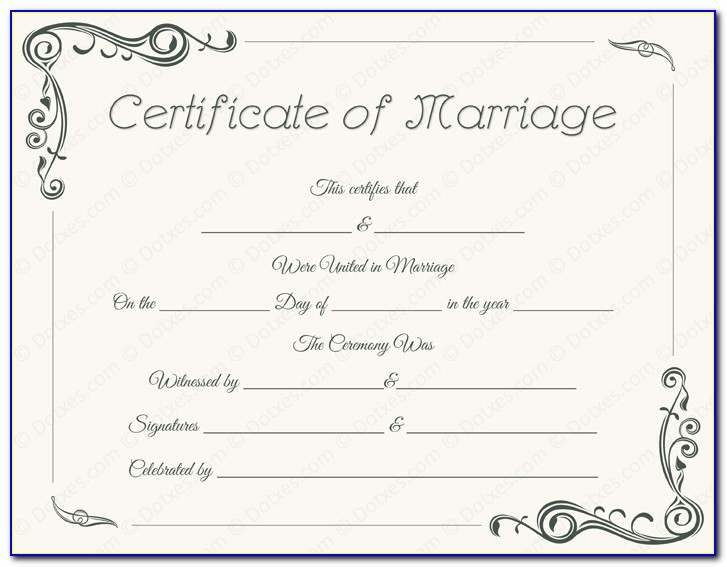 Marriage Certificate Template Free