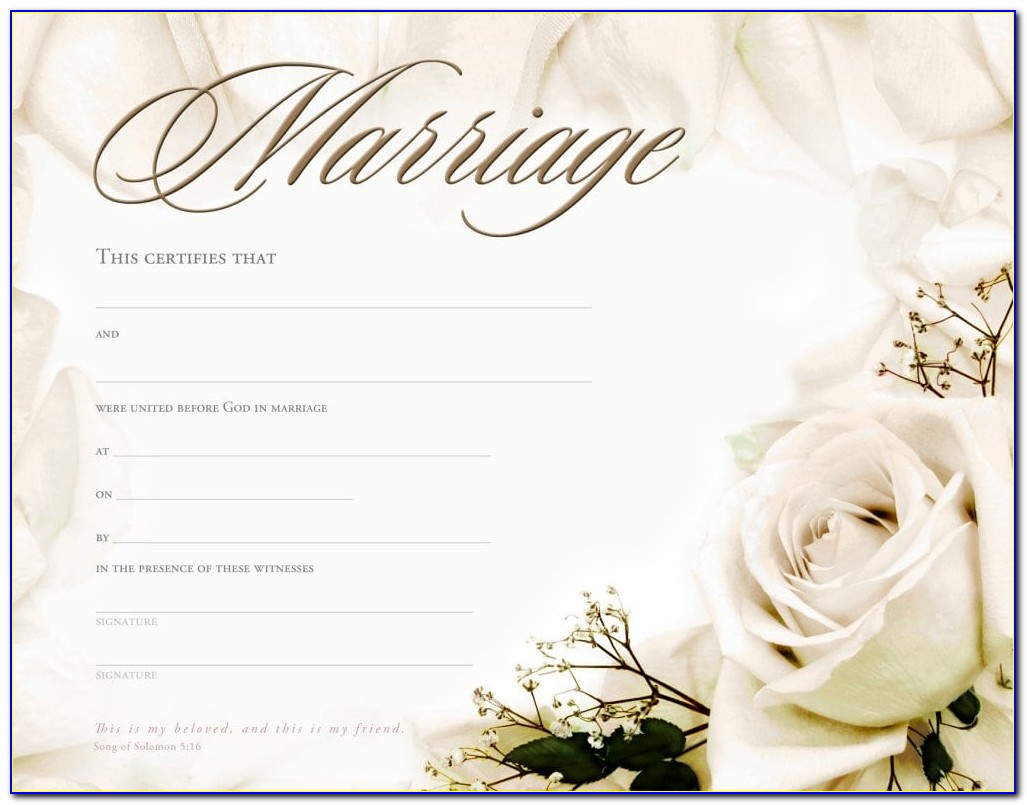 Marriage Certificate Template Uk