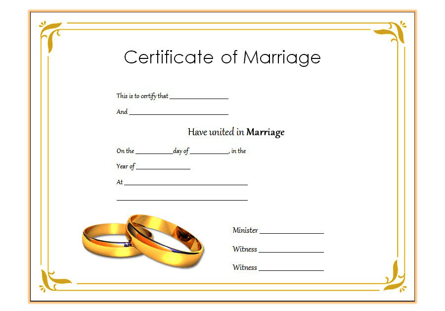 Marriage Certificate Template Word Free