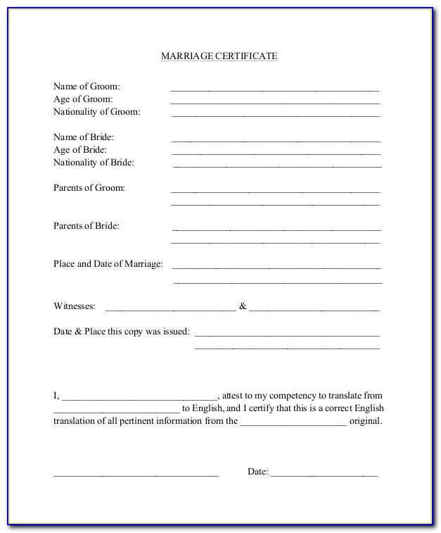 Marriage Certificate Translation Template Free