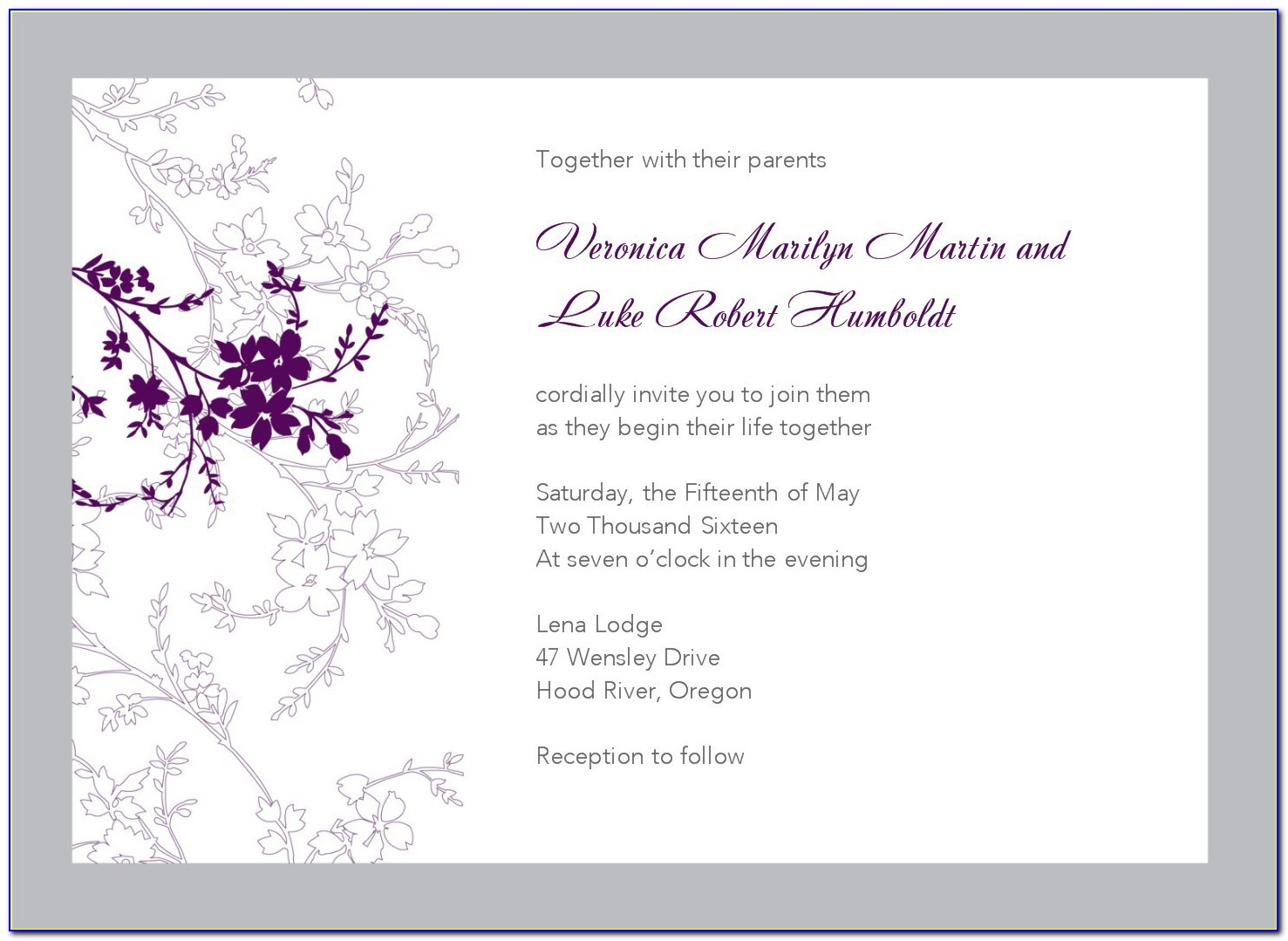Marriage Invitation Templates Word