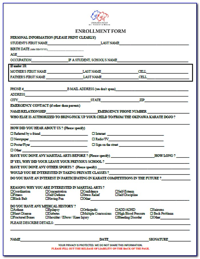 Martial Arts Waiver Form Template
