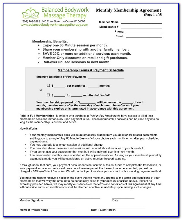 Massage Therapist Employment Contract Template