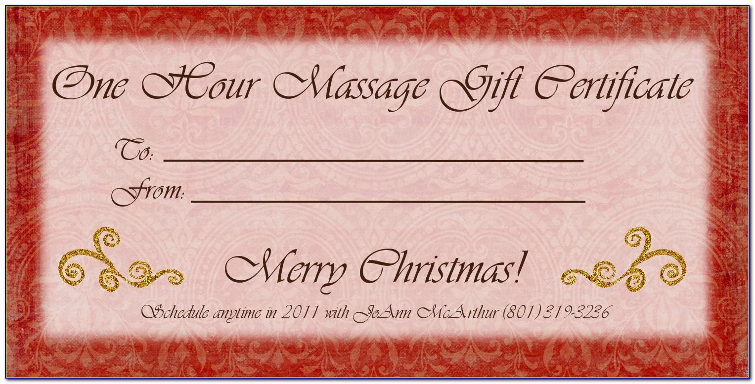 Massage Therapy Gift Certificate Template Free