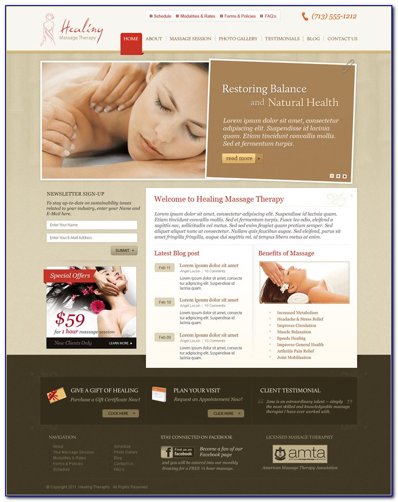 Massage Therapy Website Design