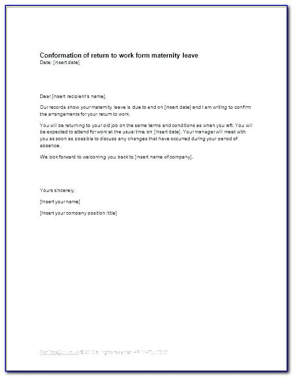 Maternity Return To Work Letter From Employer Template