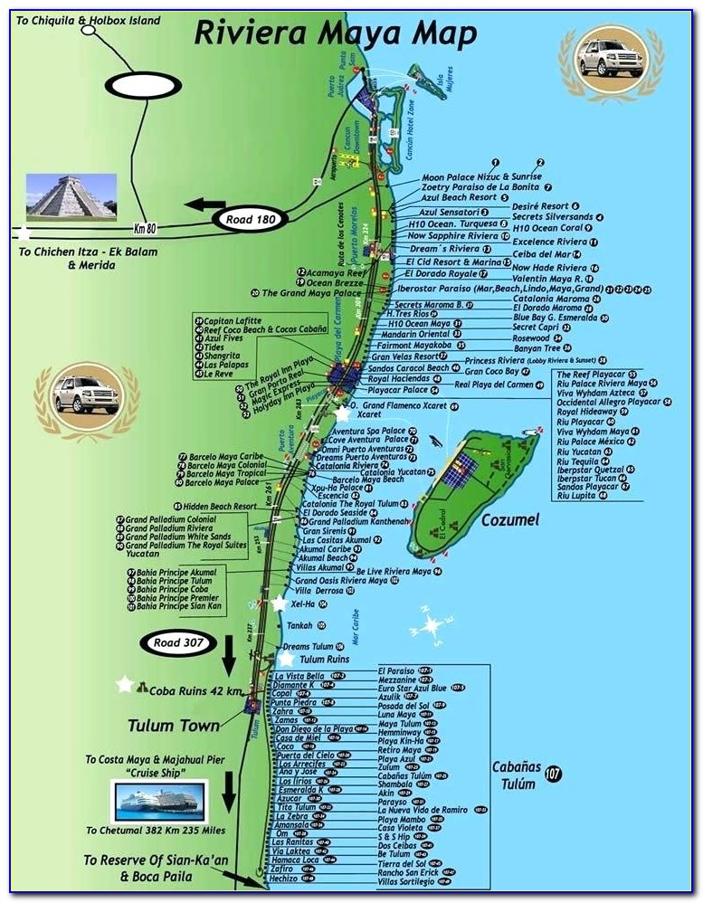 Mayan Riviera Hotel Strip Map