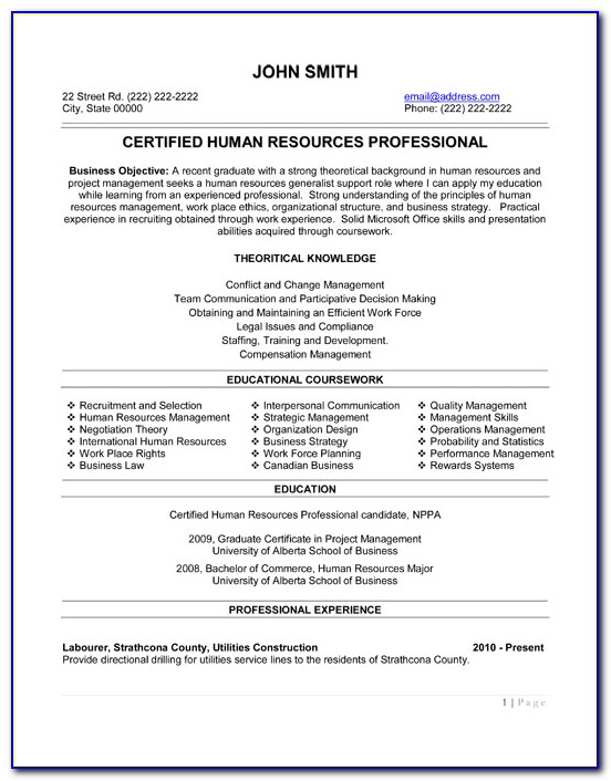 Mba Hr Resume Format Free Download