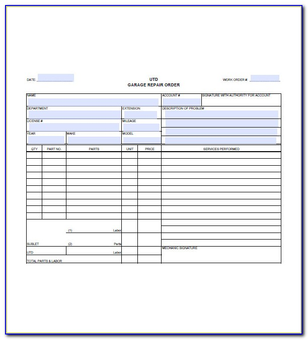 Mechanic Invoice Example