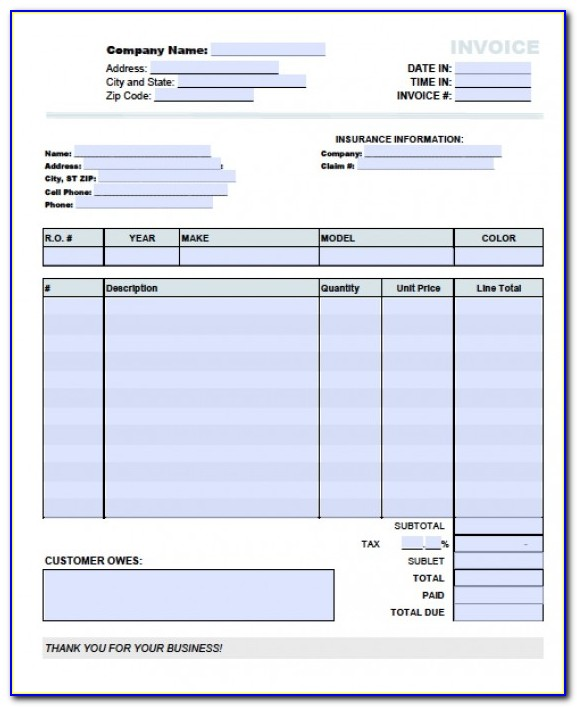 Mechanic Invoice Template Pdf