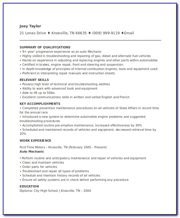 Mechanic Resume Templates