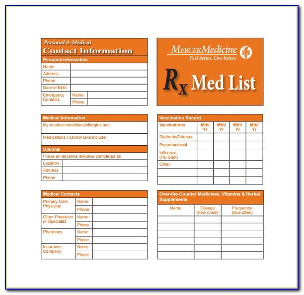 Medical Alert Wallet Card Template