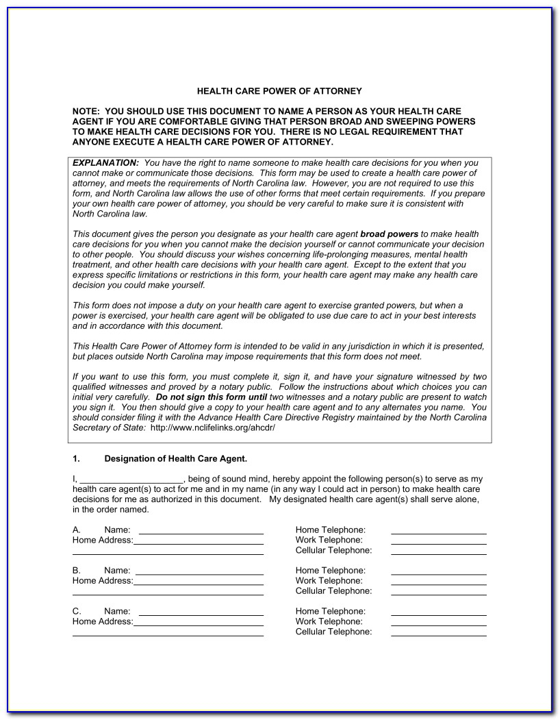 Medical And Financial Power Of Attorney Form Nc