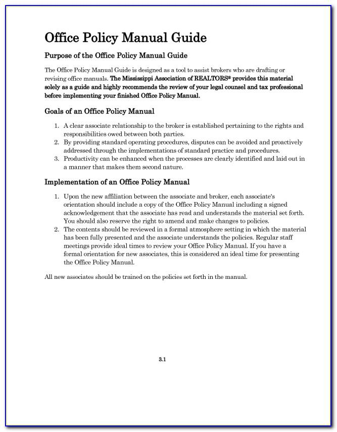 Medical Office Policies And Procedures Manual Template
