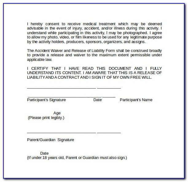 Medical Release Of Liability Form Template